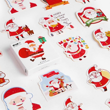 48 Pcs/Pack Christmas Holiday Santa Claus Paper Stickers Diary Scrapbooking Label for Gift Wrapping,Bullet Journal,Day Planner