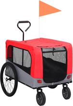 vidaXL 2-i-1 cykelanhænger og joggingklapvogn kæledyr rød grå