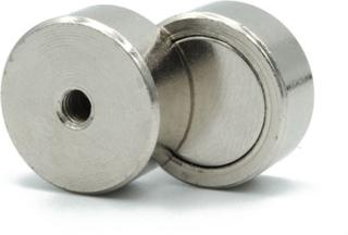 Kraftig neodym pot magnet Ø 19 x 8 mm med innvendig gjenge M4 | Holdemagneter