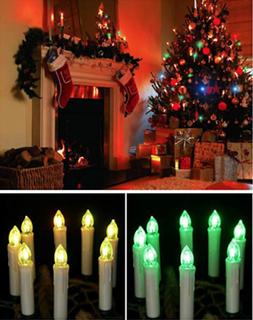 LED Juletræslys hvide med multifarvet flamme m/ fjernbetjening (10 stk)