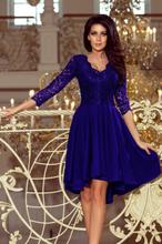 210-4 NICOLLE - sukienka z dłuższym tyłem z koronkowym dekoltem - CHAB