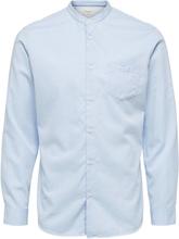 SELECTED Mandarin Collar - Shirt Men Blue; Pastel