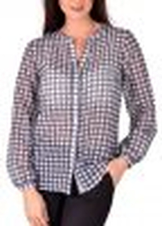 Casual silk mix blouse check
