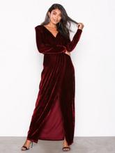 NLY Eve Draped Waist Velvet Gown Burgundy