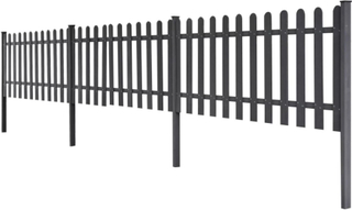 vidaXL Staket i WPC med stolpar 3 st 6 m långt 80 cm högt grå