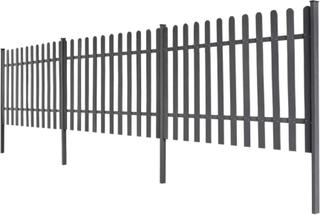 vidaXL Staket i WPC med stolpar 3 st 6 m långt 100 cm högt grå