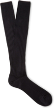 Ribbed Cotton Over-the-calf Socks - Midnight blue