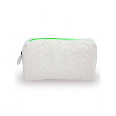 W7 White Weaved PU Cosmetic Bag Green Zipper 1 stk