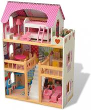 3-etasjes dukkehus 60x30x90 cm