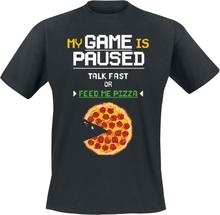Talk Fast Or Feed Me Pizza - -T-skjorte - svart