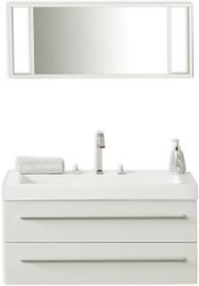 Badrumsmöbler väggskåp spegel och tvättställ vit BARCELONA