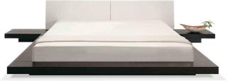 Dubbelsäng med sängbord 180 x 200 cm mörkbrun ZEN