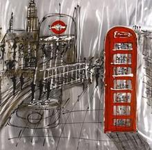 Tavla London Street 100x100 cm - Röd telefonkiosk