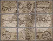 Tavla Tellus antik världskarta XL - Svart ram