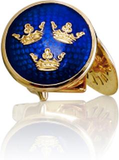 Manschettknappar Tre Kronor guld Royal blue