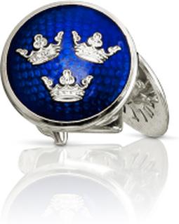 Manschettknappar Tre Kronor silver Royal blue