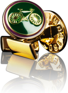 Manschettknappar Themocracy Guld British racing green
