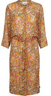 Oransje Second Female - Bloom Long Shirt Kjole Blazing Orange