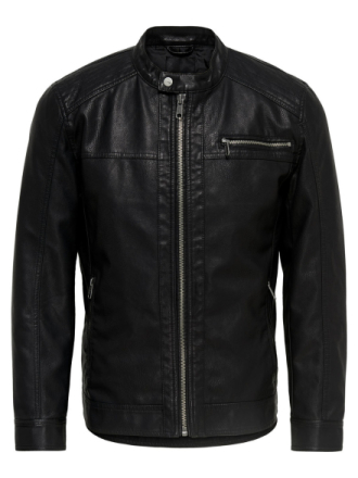ONLY & SONS Leather Look Jacket Men Black