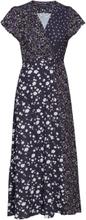 Aliyah Crepe V Neck Wrap Dress Maxikjole Festkjole Blå French Connection