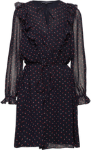 Fleur Georgette Long Sleeve Dress Kort Kjole Blå French Connection