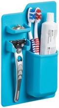 Väggmonterad silikonhållare för tandkräm tandborste Rakhyvel Blå
