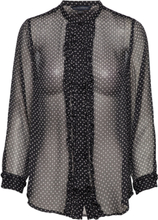 Caressa Crinkle Printed Georgette Shirt Bluse Langermet Svart French Connection