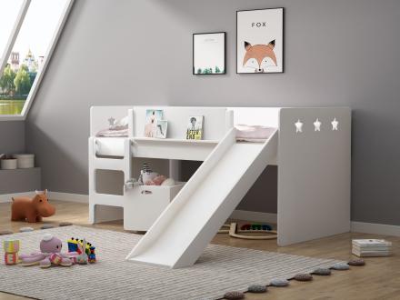 Sweet Dream halvhøy seng med sklie og lekekasse 90×200