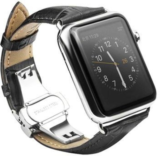 Apple Watch Series 4/3/2/1 Qialino Læder Armbånd - 42mm, 44mm - Sort