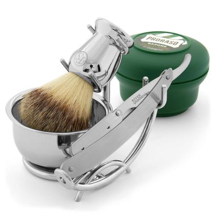 Barbersett med Barberkniv av Rustfritt Stål med Utskiftbare Blader