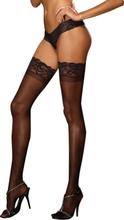 Dreamgirl - Svarta självsittande strumpor med spetskant