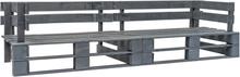 vidaXL Pallsoffa 2-sits grå FSC-trä