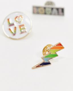 Topman x PRIDE badge 3 pack in multicolour