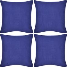 vidaXL 4 Kuddöverdrag i bomull blåa 50 x 50 cm