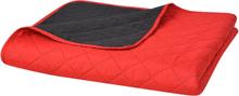 vidaXL Dubbelsidigt vadderat överkast röd och svart 220x240 cm