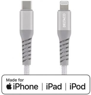 DELTACO USB-C till Lightning 1m Tygbeklädd, USB 2.0, Silver