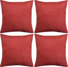 vidaXL Kuddöverdrag 4 st linne-design 80x80 cm vinröd