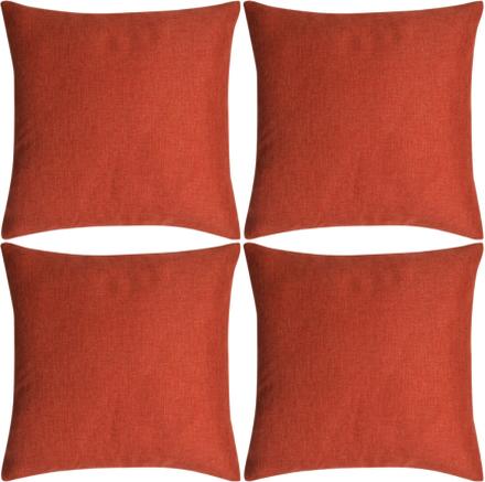 vidaXL Kuddöverdrag 4 st linne-design 80x80 cm terrakottafärgad