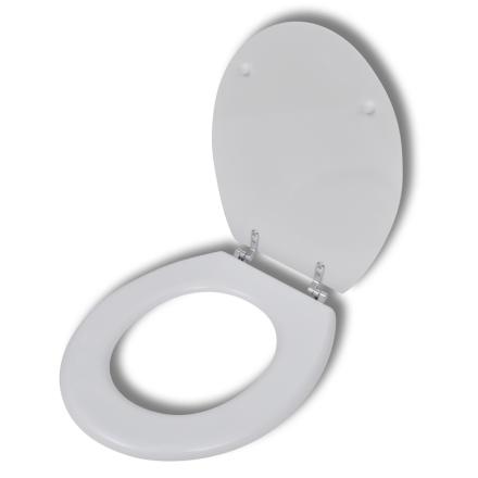 vidaXL WC-istuimen kansi MDF Hard Close Yksinkertainen Kuvio Valkoinen