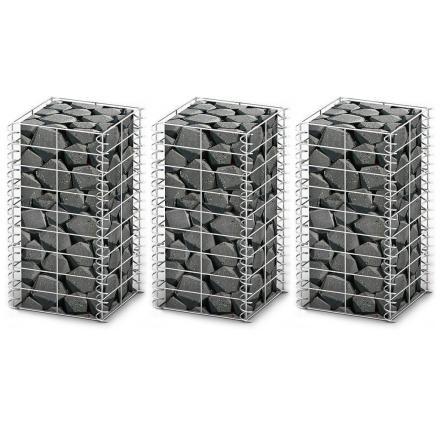 vidaXL Gabion-/kivikorisarja 3 kpl galvanoitu metallilanka 25x25x50 cm