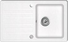 vidaXL Diskbänk i granit med en diskho och avlopp Gräddvit
