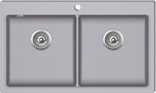 vidaXL Overflademonteret dobbelt køkkenvask i granit, grå