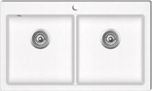 vidaXL Overflademonteret dobbelt køkkenvask i granit, cremehvid