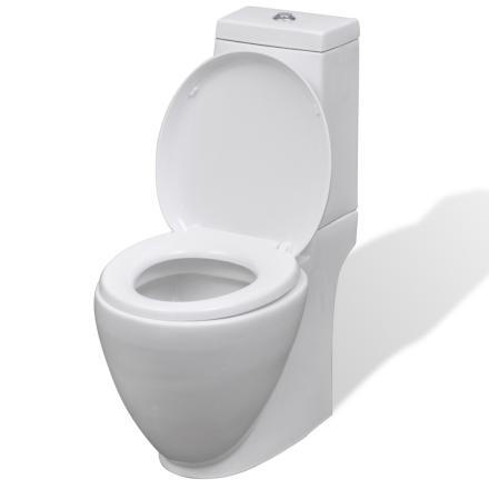 vidaXL WC keramisk toalett bad rundt toalett hvit