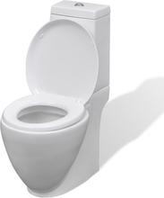 vidaXL Keramisk toalettstol rund vit