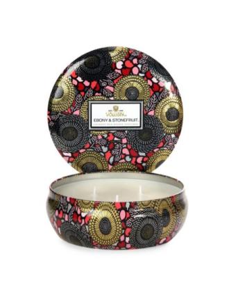 Voluspa Ebony & Stonefruit 3 Wick Candle Tin Hvit