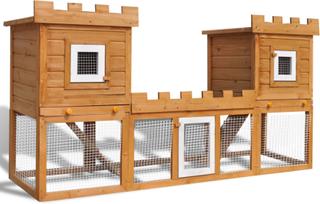 vidaXL Stor kaninbur med två hus