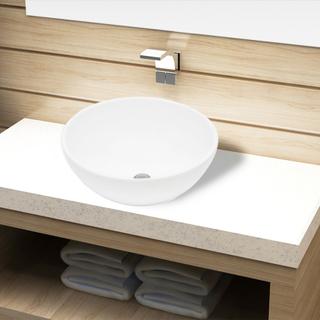 vidaXL Keramisk badeværelsesvask basin hvid rund