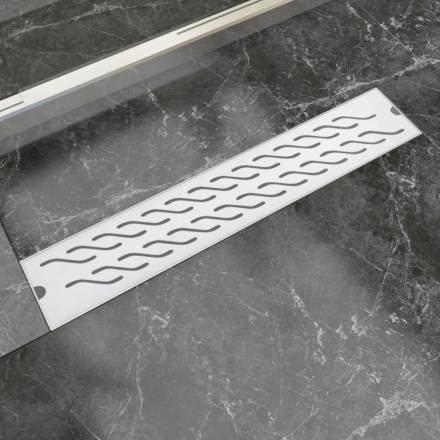 vidaXL Lineært bruseafløb bølgedesign 630x140 mm rustfrit stål