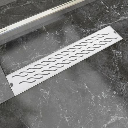 vidaXL Avlång golvbrunn vågig 630x140 mm rostfritt stål